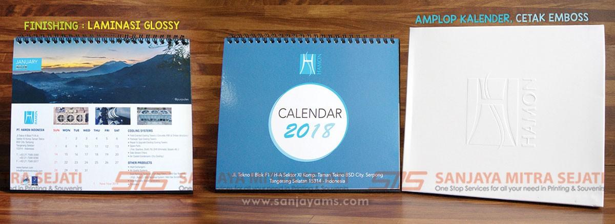 Percetakan kalender  meja PT Hamon, Laminasi Glossy