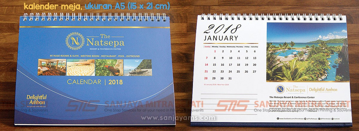 Kalender meja ukuran A5, design kalender hotel natsepa