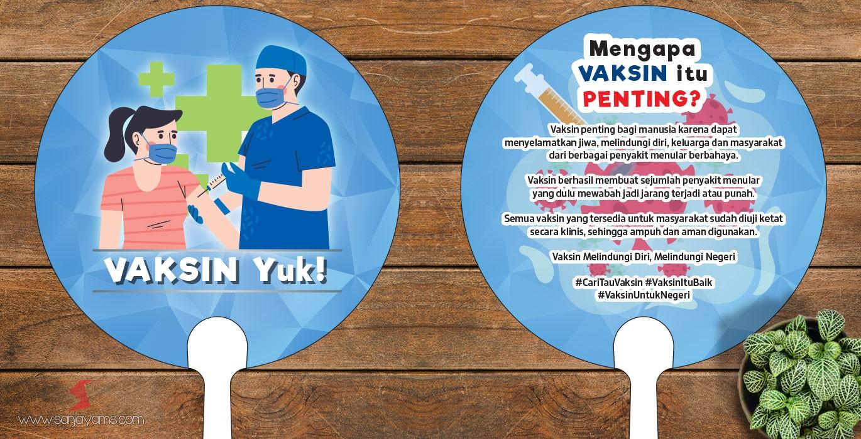 Souvenir Vaksin Cetak Kipas Promosi Vaksin Covid Bahan Plastik