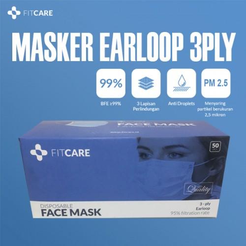 Masker Earloop, Masker 3ply, Masker Fitcare, Masker Anti Virus, Masker Sekali Pakai,