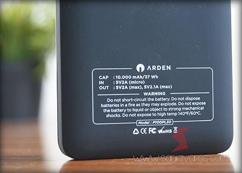 Bagian Belakang Powerbank Arden 10.000mah