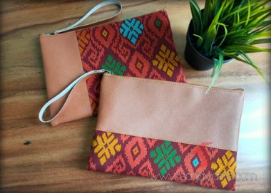 Pouch Kulit Kombinasi Batik